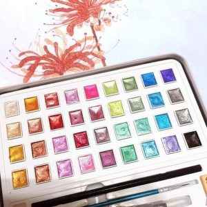 MetalEffect™ Metallic Watercolor Set Portable Pigment Solid Gold Pearl Glitter Palette