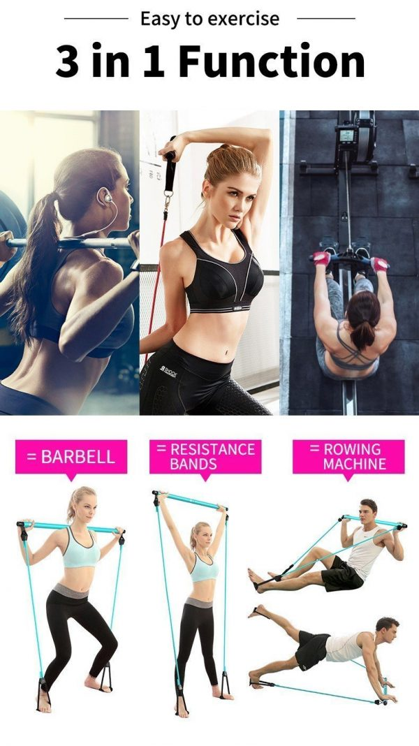 Portable Pilates Bar Kit With Resistance Band Exercise Stick